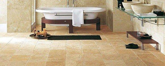 Travertine Bathroom Floors - Natural Travertine Bathroom - KleanSTONE Travertine Floor Cleaning