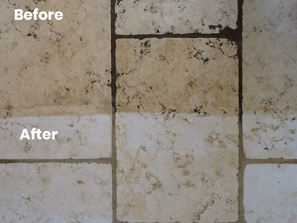 KleanSTONE Stone Floor Transformation Before-After 2 - KleanSTONE Floor Cleaning