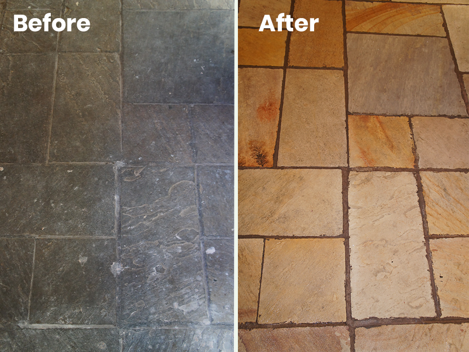 KleanSTONE Stone Floor Transformation Before-After 3 - KleanSTONE Floor Cleaning