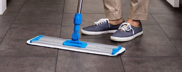 microfibre mop cleaning-kleanstone-stone-floor